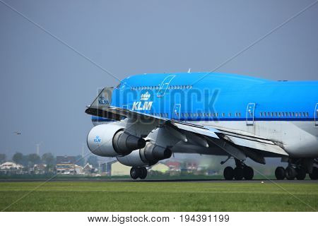 Amsterdam the Netherlands - May 6th 2017: PH-BFE KLM Boeing 747 takeoff from Polderbaan runway Amsterdam Schiphol Airport City of Melbourne