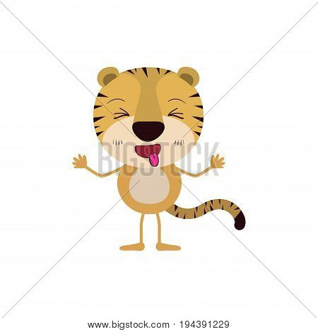 colorful caricature of cute tiger disgust expression and sticking out tongue vector illustration