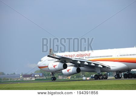 Amsterdam the Netherlands - May 6th 2017: PZ-TCR Surinam Airways Airbus A340-300 takeoff from Polderbaan runway Amsterdam Schiphol Airport