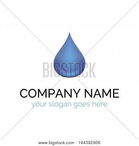 Vector logo template for mineral water. Water drop. 3d design. Alternative energy. Concept icon. Ecology logotype. EPS10.