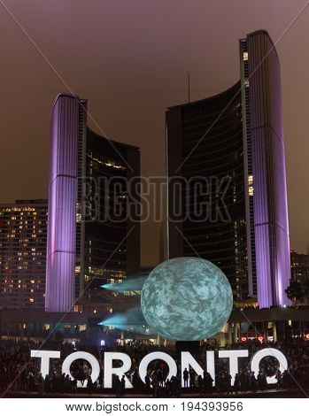 TORONTO - October 2 2016: Nuit Blanche. Nuit Blanche Toronto is a free annual city-wide celebration of contemporary art. Toronto Ontario Canada