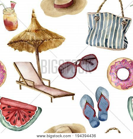 Watercolor summer beach pattern. Hand painted summer vacation objects: sunglasses, beach umbrella, beach chair, straw hat, beach bag, pool floats and flip-flops. Tropical illustration