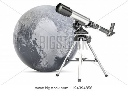 Telescope with Pluto 3D rendering isolated on white background