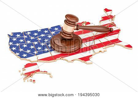 Wooden Gavel on map of USA 3D rendering isolated on white background