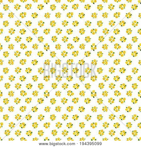 Calico Watercolor Forget Me Not Pattern. Fine Seamless Cute Small Flowers For Fabric Design. Calico