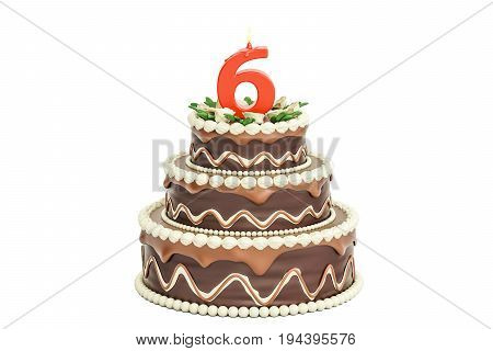 Chocolate Birthday cake with candle number 6 3D rendering isolated on white background
