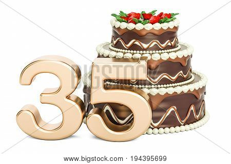Chocolate Birthday cake with golden number 35 3D rendering isolated on white background