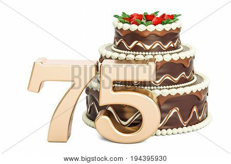 Chocolate Birthday cake with golden number 75 3D rendering isolated on white background