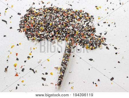 Recycled plastic bottles. Polymeric pellets.  Polymer beads. Polyethylene granules.