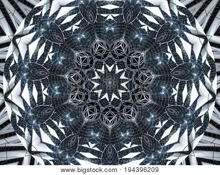 Kaleidoscope pattern abstract background. Round pattern. Architectural abstract fractal kaleidoscope background. Abstract fractal pattern geometrical symmetrical ornament. Metal flower pattern image