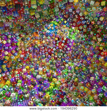 Gift boxes large group 3d illustration surreal scene with confetti horizontal