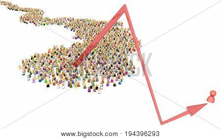 Crowd of small symbolic figures one bounce arrow 3d illustration horizontal over white