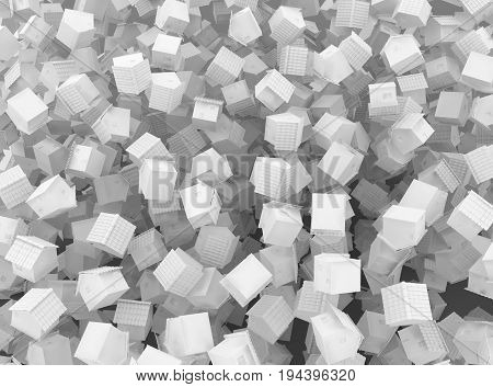 Small white cottages chaotic scatter 3d illustration background horizontal