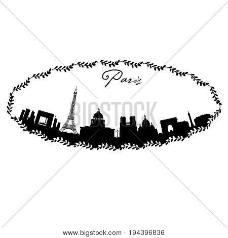 Paris vector skyline in hand drawn floral frame