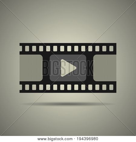 film strip icon video icon flat style in black and white colors isolated