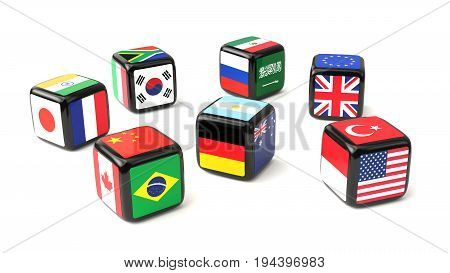 Dice with flags of the G20 nations cast