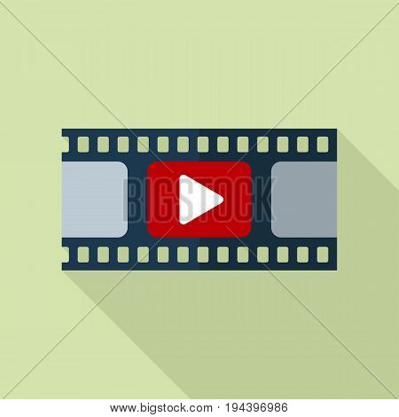 film strip icon video icon flat style with long shadow isolated
