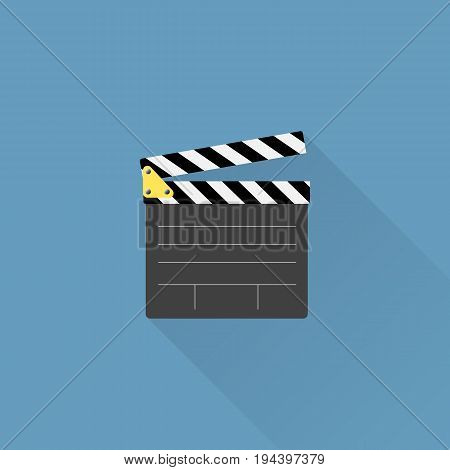 Movie clapper board icon with long shadow in flat syle