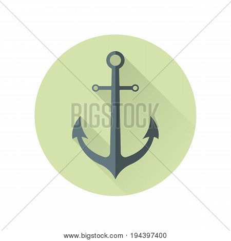 Anchor isolated on white. Made of metal device used to connect vessel to bed of body of water to prevent craft from drifting due to wind or current. Marine anchor sign symbol in flat style. Vector