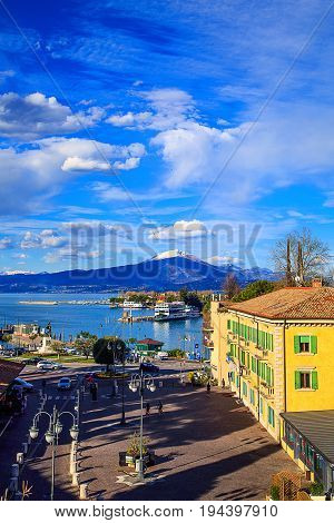 Aerial view of the port in Peschiera Del Garda on Lake Garda Lombardy Italy.