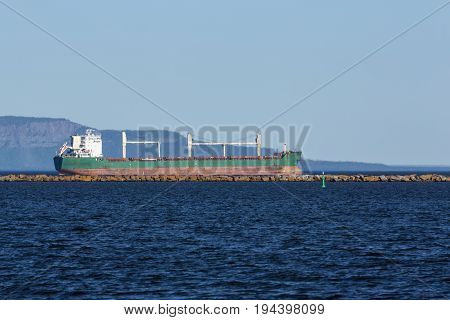 A ship on Lake Superior in Thunder Bay.