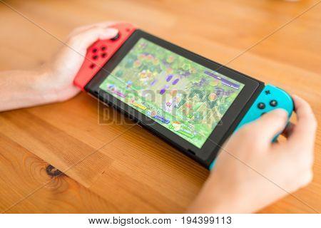 Hong Kong, 15 June 2017 -: Playing switch at Home