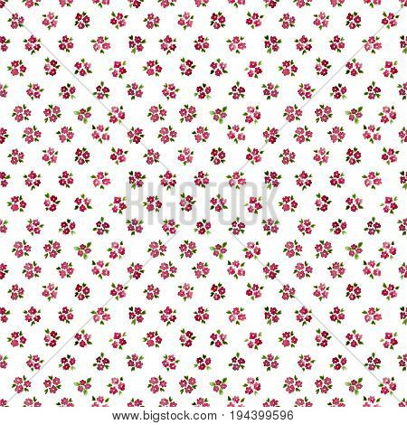 Calico Watercolor Forget Me Not Pattern. Delightful Seamless Cute Small Flowers For Fabric Design. C