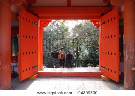 Red gates at Shinto shrine in Nara, Japan