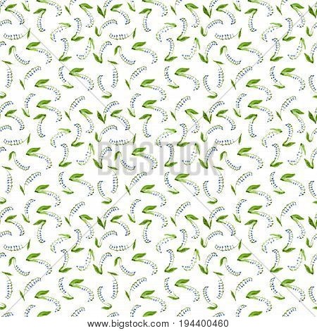 Calico Watercolor Lily Of The Valley Pattern. Resplendent Seamless Cute Small Flowers For Fabric Des
