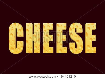Word Cheese in vector isolated on dark brown background