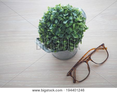 wood office table with modern eyeglasses and small tree on flower pot selected focus on eyeglasses. view from top office table.