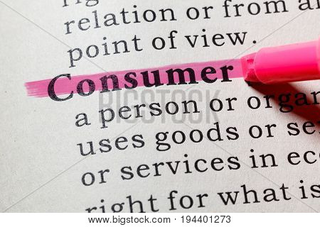 Fake Dictionary Dictionary definition of the word consumer. including key descriptive words.