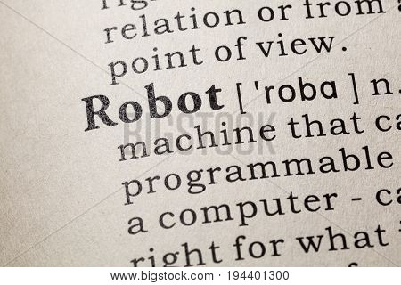 Fake Dictionary Dictionary definition of the word robot. including key descriptive words.
