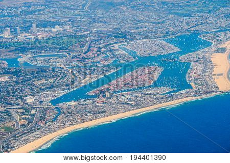Aerial view above Newport Beach Harbor California