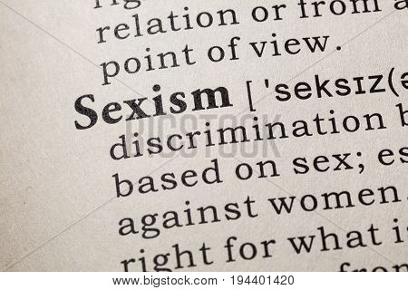 Fake Dictionary Dictionary definition of the word Sexism. including key descriptive words.