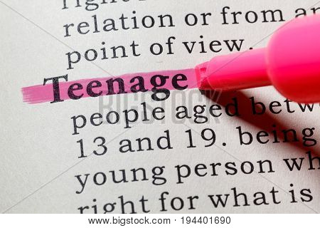 Fake Dictionary Dictionary definition of the word teenage. including key descriptive words.