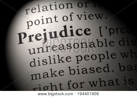 Fake Dictionary Dictionary definition of the word prejudice. including key descriptive words.