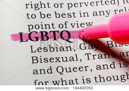 Fake Dictionary Dictionary definition of the word LGBTQ. including key descriptive words.