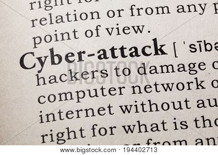 Fake Dictionary Dictionary definition of the word cyber-attack. including key descriptive words.