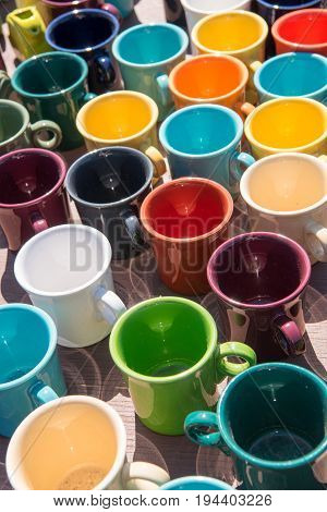 Colorful mugs at an outdoor flea market in Minnesota