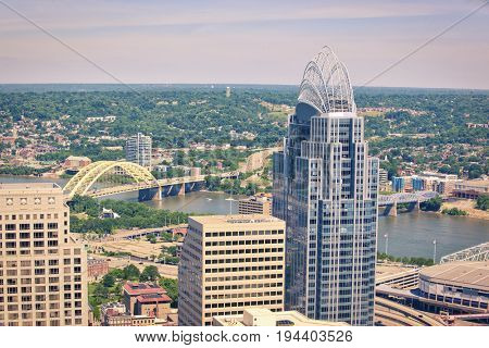 Aerial view of Cincinnati, Ohio looking southeast into Kentucky