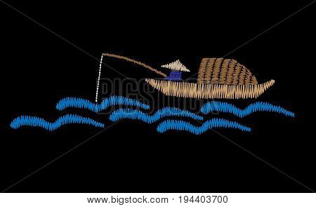 A fisherman is in a boat fishes embroidery stitches imitation on the black background. Fisherman embroidery vector illustration. Vector isolated embroidery boat fishes.