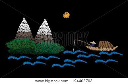 A fisherman is in a boat fishes with mountain landscape embroidery stitches imitation. Fisherman embroidery vector illustration. Vector isolated embroidery boat fishes.