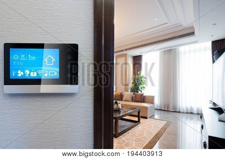 smart screen on wall with luxury living room