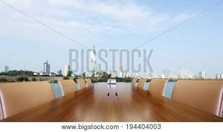 painted conference table with cityscape of nanjing
