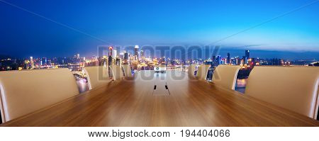 painted conference table with cityscape of chongqing new city at twilight