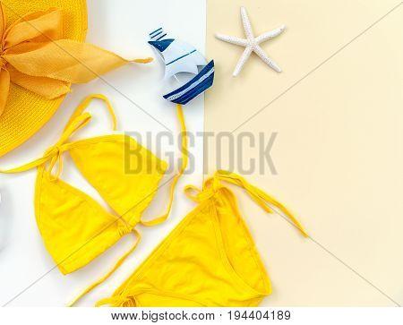Summer Fashion woman swimsuit Bikini. Tropical sea.Unusual top view. Summer Concept.