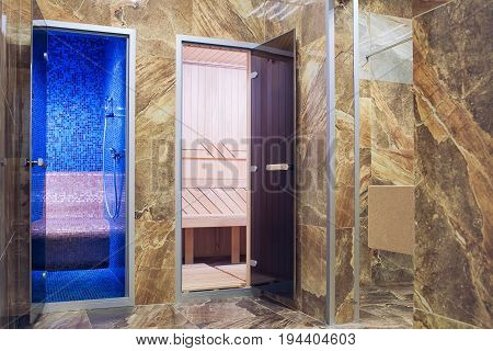 Entrance to the hammam and bath through a corridor lined with marble...