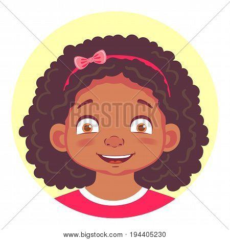 African girls emotions. Facial expression. Set of emoticons. Joy