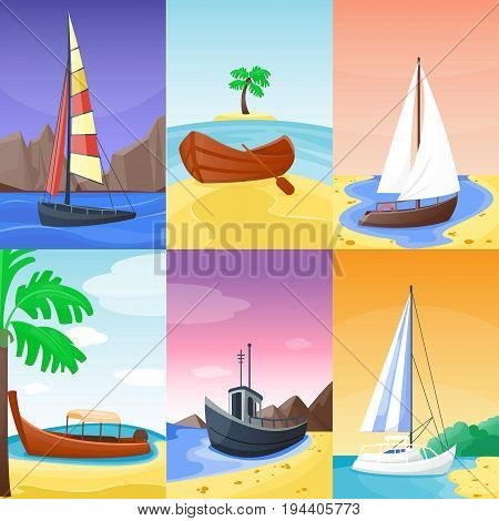 Summer time vacation nature tropical beach with sail boat ships and yacht, vessel landscape paradise island palm trees holidays vector illustration.